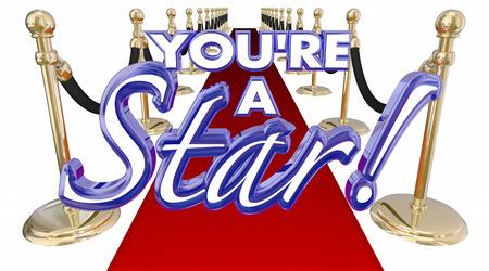 Youre ein Stern Roter Teppich Royal VIP Treatment Wörter 3d Illustration Standard-Bild
