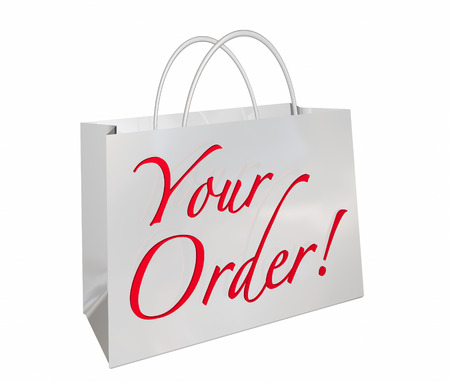 market place: Your Order Shopping Bag New Merchandise Ready Words 3d Illustration