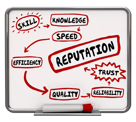 reputed: Reputation Erase Board Skill Knowledge Trust 3d Illustration