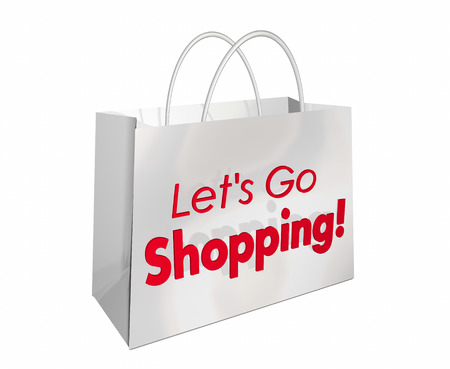 to go: Lets Go Shopping Bag Store Buy Sale Words 3d Illustration