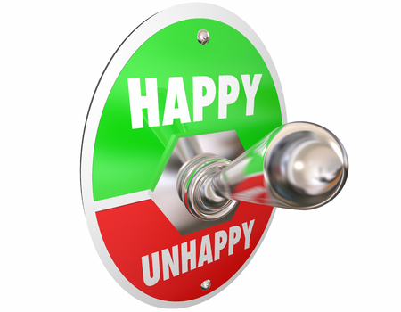 opposites: Happy Vs Unhappy Sad Toggle Switch Turn On Mood Feelings 3d Illustration