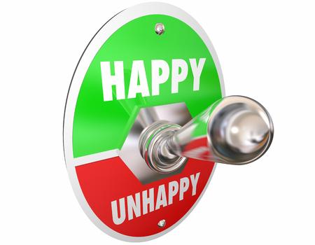 Happy Vs Unhappy Sad Toggle Switch Turn On Mood Feelings 3d Illustration