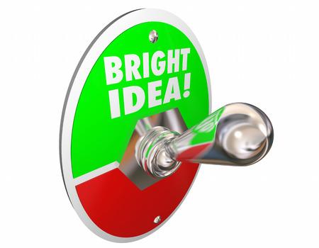 enlightened: Bright Idea Original Thought Creativity Words Switch 3d Illustration