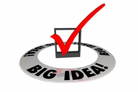 contemplate: Big Idea Check Mark Box Original Creative Words 3d Illustration