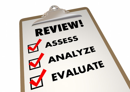 review: Review Clipboard Checklist Evaluation Words 3d Illustration Stock Photo