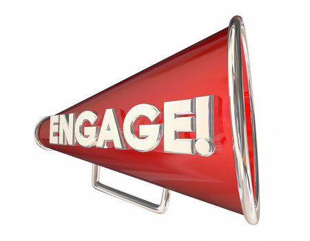 bullhorn: Engagement Bullhorn Megaphone Communication Word 3d Illustration
