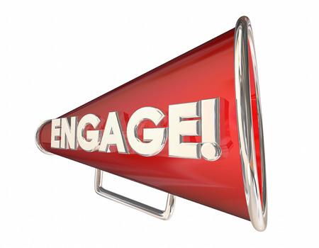 involving: Engagement Bullhorn Megaphone Communication Word 3d Illustration