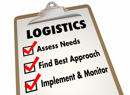 to determine: Logistics Clipboard Checklist Manage Shipping Deliveries 3d Illustration