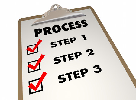 Étapes du processus système Procédure Liste Clipboard mots 3d Illustration Banque d'images