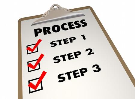 Etapas del Proceso del Sistema Procedimiento Portapapeles Lista de verificación de las palabras 3d ilustración Foto de archivo