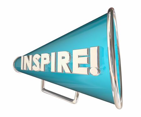 inspire: Inspire Bullhorn Megaphone Motivational Word 3d Illustration
