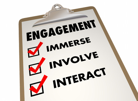 interact: Engagement Checklist Clipboard Interact Invovlement 3d Illustration Stock Photo