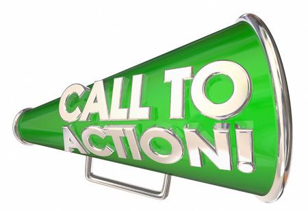 Aufruf zum Handeln Sprachrohr Megaphon Nachricht Wörter 3d Illustration