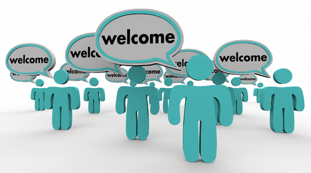 Welcome People Speech Bubbles New Arrival Words 3d Illustration