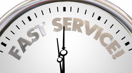 eficiencia: Palabras Fast Service Company velocidad de reloj de tiempo Ilustración 3d