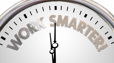 Slimmer werken Klok Bespaar tijd Efficiency Woorden 3d Illustratie