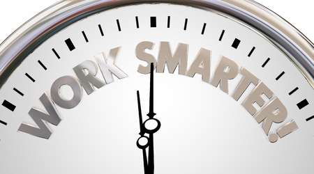 multitask: Work Smarter Clock Save Time Efficiency Words 3d Illustration