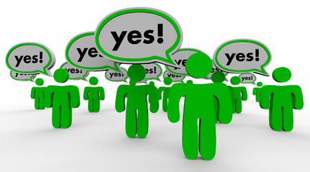 approving: Yes Answer Speech Bubbles People Customers Word 3d Illustration