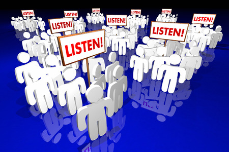 listeners: Listen Pay Attention People Signs Audience Words 3d Animation Stock Photo