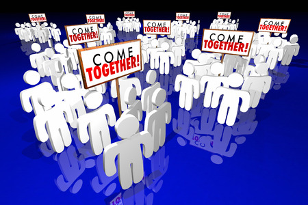 joining forces: Come Together People Gathering Signs 3d Animation Stock Photo