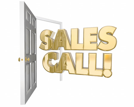 pitching: Sales Call Visit Presentation Open Door Words 3d Animation Stock Photo