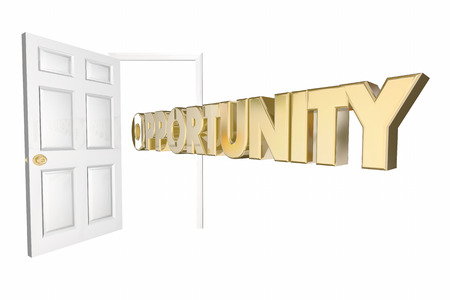 Opportunity Knocks Tür Öffnen von Word 3D-Animation Standard-Bild - 57051178