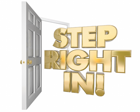 ようこそ右ステップ招待オープンドア言葉 3 d イラストレーション