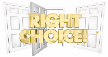 to decide: Right Choice Many Doors Choose Wisely Words 3d Illustration