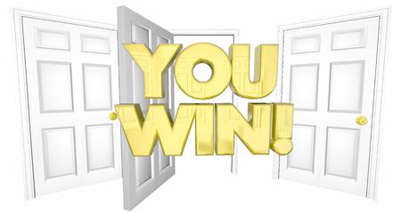 U Win Lucky Keuze Open Door Words 3d Illustratie