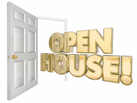 welcoming party: Open House Home Sale Door Words 3d Illustration Stock Photo