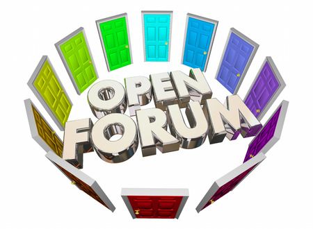 election commission: Open Forum Many Doors Public Meeting Words 3d Illustration