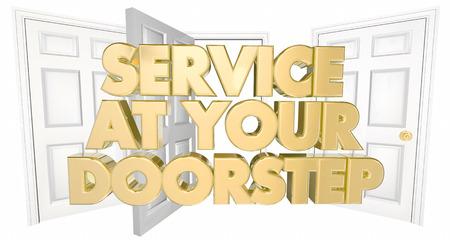 doorstep: Service at Your Doorstep Open Doors Words 3d Illustration Stock Photo