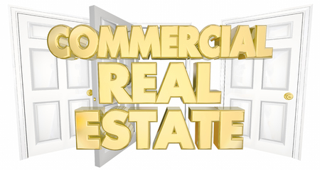 commercial real estate: Commercial Real Estate Open Doors Words 3d Illustration