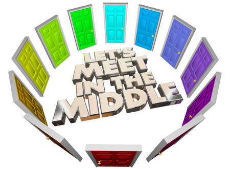 arbitrator: Lets Meet in the Middle Doors Compromise Agreement 3d Illustration