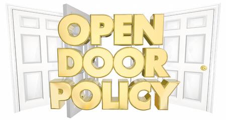Open Door Policy Welcome Invitation Words 3d Illustration Stock fotó