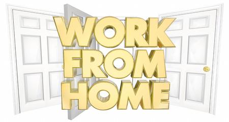 home business: Work From Home Business Open Door Words 3d Illustration