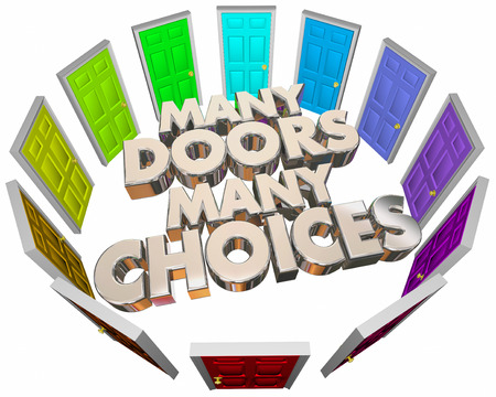 opting: Many Doors Choices Doors Options Different Paths 3d Illustration