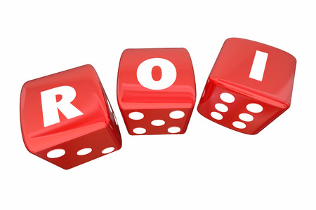 rolling dice: ROI Return on Investment Rolling Dice Letters 3d Illustration