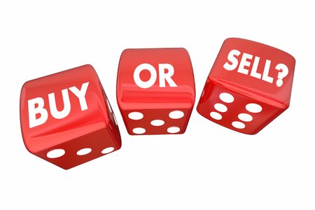 financial adviser: Buy or Sell Stocks Money Finances Dice Words 3d Illustration