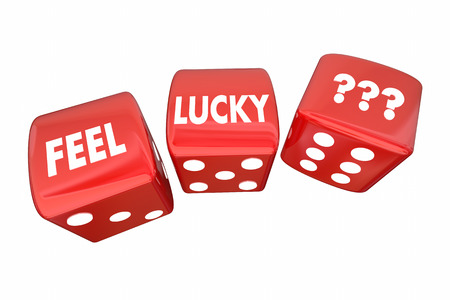 uncertain: Feel Lucky Red Dice Roll Take Chance Challenge 3d Illustration Stock Photo