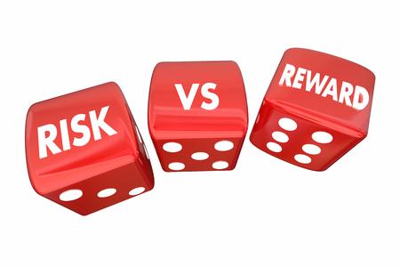 rewarding: Risk Vs Reward Rolling Dice ROI Words 3d Illustration