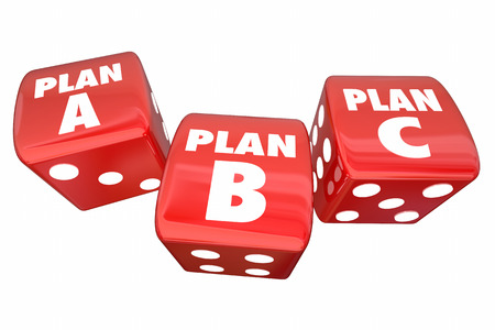 unsure: Plan A B C Dice Alternative Options Fall Back Contingency 3d Illustration
