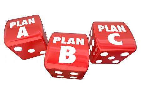 Plan A B C Dice Alternative Options Fall Back Contingency 3d Illustration