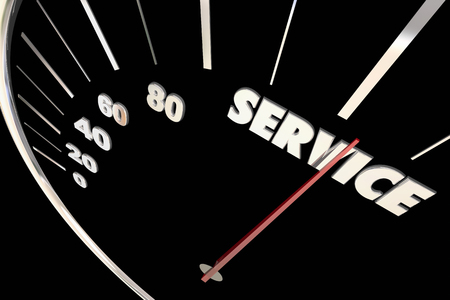 most talent: Service Top Responsive Speed Great Attention Words Speedometer 3d Ilustration Stock Photo