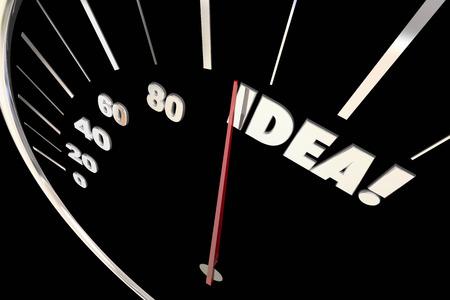 highest: Idea Great Creative Thinking Imagination Words Speedometer 3d Illustration