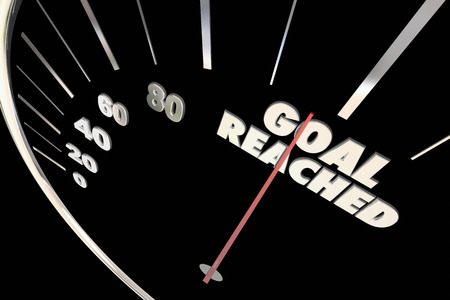 Goal Reached Speedometer 100 Percent Total Number 3d Illustration