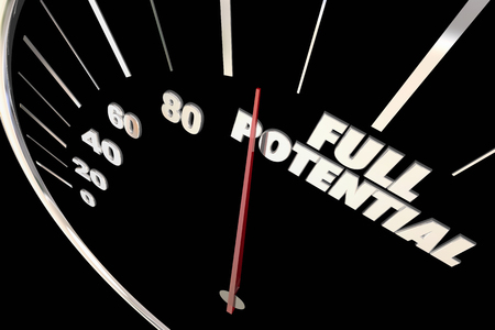 reach: Full Potential Reach Maximum Possible Speedometer Words 3d Illustration Stock Photo