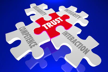 Trust Competence Reliability Words Puzzle Pieces 3d Illustration Stok Fotoğraf