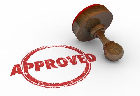 Approvato Red rotonda Stamp Word accettate illustrazione 3d