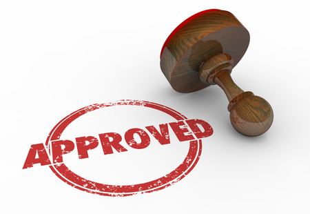 official: Approved Red Round Stamp Word Accepted 3d Illustration